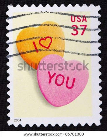 UNITED STATES - CIRCA 2004: A stamp printed in United States shows I love you, circa 2004