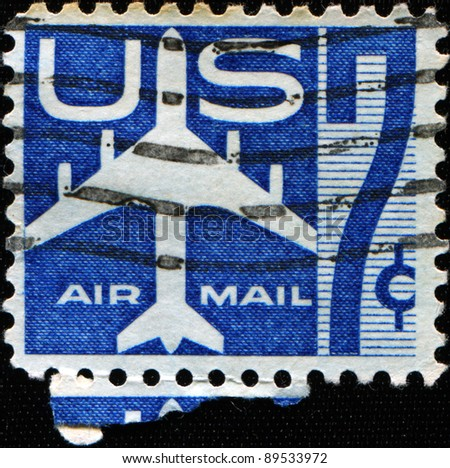 UNITED STATES - CIRCA 1958: A stamp printed in United states shows Silhouette of Jet Airliner, circa 1958