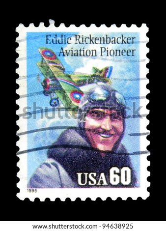 "UNITED STATES - CIRCA 1995: A stamp printed in United states (USA) shows Eddie Rickenbacker with the inscription ""Eddie Rickenbacker, Aviation Pioneer"" from the series ""Aviation Pioneer"", circa 1995"
