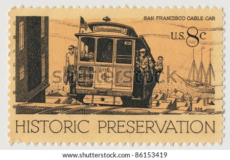 UNITED STATES - CIRCA 1971: A stamp printed in USA, shows Cable Car, San Francisco, series Historic Preservation Issue, circa 1971