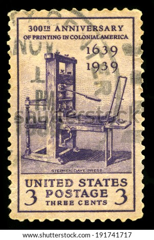 UNITED STATES - CIRCA 1939: A United States Postage Stamp celebrating the 300th Anniversary of Printing in Colonial America, circa 1939.
