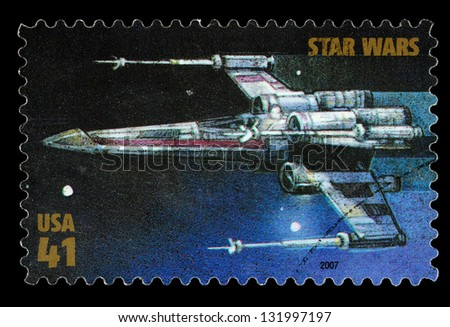 UNITED STATES - CIRCA 2007: A Used Postage Stamp printed in the United States, showing an X Wing Star Fighter from the Star Wars Films, circa 2007 - stock photo