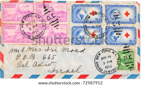 "UNITED STATES - CIRCA 1953: An old envelope and four postage stamps issued in honor of the founding of the International Red Cross with inscription ""International Red Cross 1863"", series, circa 1923"