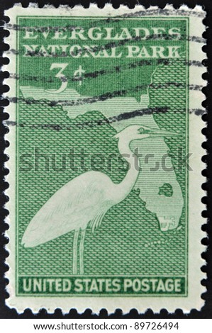 UNITED STATES - CIRCA 1947: depicting Florida map and heron, face value, circa 1947 - stock photo