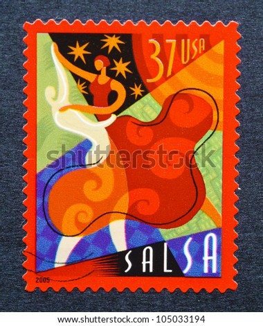 UNITED STATES  CIRCA 2005: postage stamp printed in USA showing an image of salsa dancers, circa 2005.
