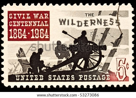 UNITED STATES - CIRCA 1960's : A stamp printed in United States.Battle of the Wilderness, the American Civil War. United States - CIRCA 1960's - stock photo