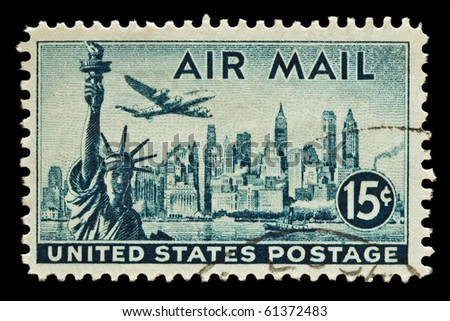 UNITED STATES - CIRCA 1950's : A stamp printed in United States. Statue of Liberty, New York Skyline airmail stamp. United States - CIRCA 1950's