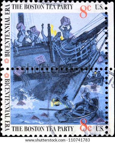 UNITED STATES - CIRCA 1976:  stamp printed by the United States, to commemorate the Boston Tea Party as part of the Bicentennial celebration in the United States, circa 1976