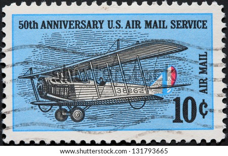 UNITED STATES - CIRCA 1968:  stamp printed by the United States, to honor the fiftieth anniversary of air mail service, circa 1968.