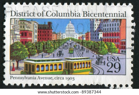 UNITED STATES - CIRCA 1991: stamp printed by United States of America, shows Capitol building from Pennsylvania avenue , circa 1991
