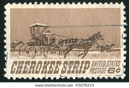 UNITED STATES - CIRCA 1968: stamp printed by United States of America, shows  carriage and horses, circa 1968