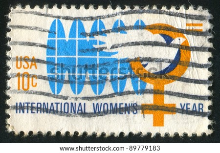 UNITED STATES - CIRCA 1975: stamp printed by United States of America, shows emblem o? intenational womens year, circa 1975