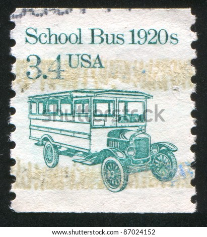 UNITED STATES - CIRCA 1986: stamp printed by United States of America, shows retro school bus, circa 1986