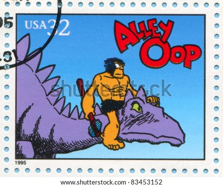 UNITED STATES - CIRCA 1995: stamp printed by United states, shows Comic Strips, Alley Oop, circa 1995