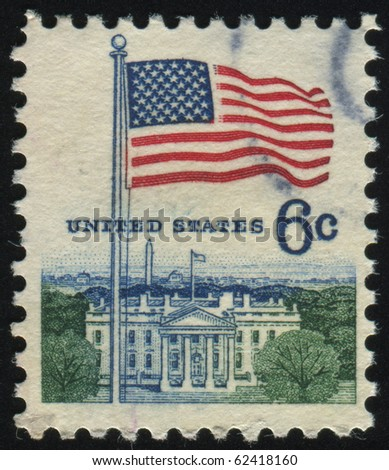 UNITED STATES - CIRCA 1967: stamp printed by United states, shows Flag over White House, circa 1967.