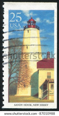 UNITED STATES - CIRCA 1990: stamp printed by United states, shows lighthouse, Sandy Hook, circa 1990