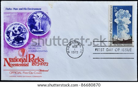 UNITED STATES - CIRCA 1972: stamp printed by United states, shows Old Faithful Yellowstone, first day of issue, circa 1972.