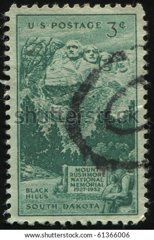 UNITED STATES - CIRCA 1952: stamp printed by United states, shows  Rushmore Memorial, circa 1952. - stock photo