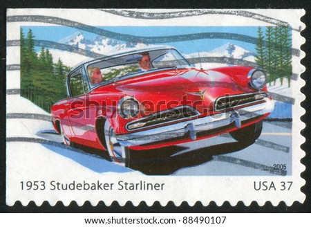 UNITED STATES - CIRCA 2005: stamp printed by United states, shows Sporty Cars, Studebaker Starliner, circa 2005 - stock photo