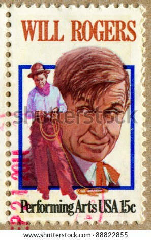 UNITED STATES - CIRCA 1979: stamp printed by United States, shows Will Rogers, circa 1979