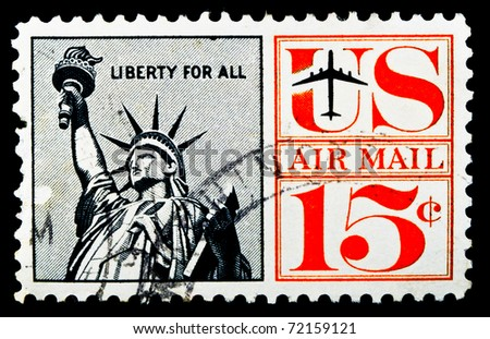 UNITED STATES - CIRCA 1959: stamp printed by United states, Statue of Liberty, circa 1959 - stock photo