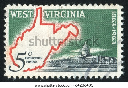 UNITED STATES - CIRCA 1963: stamp printed in United states, shows Map of West Virginia & State Capitol, circa 1963