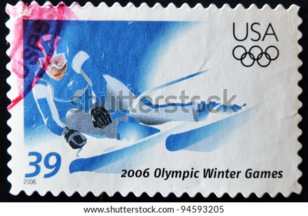 UNITED STATES - CIRCA 2006: stamp printed in USA dedicated to olympics winter games shows slalom, circa 2006