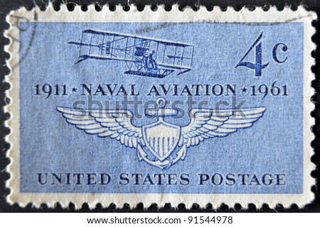 UNITED STATES - CIRCA 1961: stamp printed in USA shows Navy's First Plane  and Naval Air Wings, circa 1961
