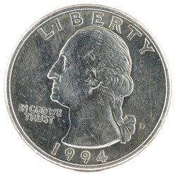 United States Coin. Quarter Dollar 1994 D. Obverse.
