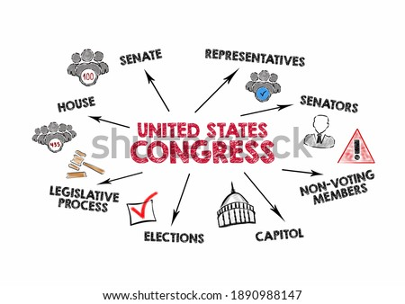 United States Congress. Senate, Capitol, Elections and Legislative Process concept. Chart with keywords and icons on white background Foto stock ©
