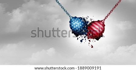 United States crisis and a divided America in chaos or US social fight and political clash for USA culture as conservative and liberal political division with 3D illustration elements. Сток-фото ©