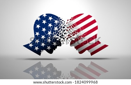 United States debate and US social issues argument or political war as an American culture conflict as conservative and liberal political dispute and ideology in a 3D illustration style. Сток-фото ©