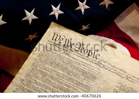 United States Declaration of Independence on a vintage American flag