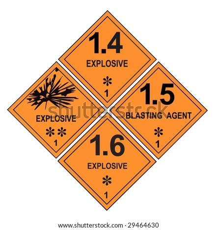 United States Department of Transportation class 1 explosives warning labels isolated on white