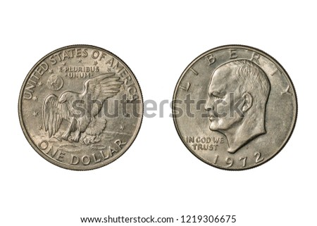 United States Eisenhower Dollar of 1972. Obverse:  Dwight D. Eisenhower. Reverse: Eagle Clutching Olive Branch Landing on Moon. Isolated on White