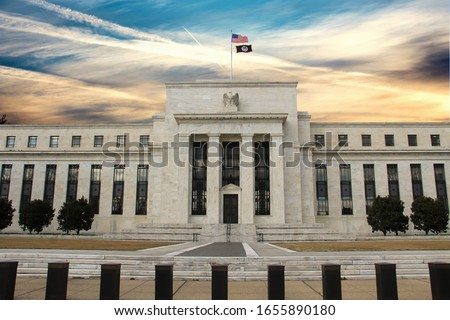 United States Federal Reserve Bank building on Constitution Avenue. WASHINGTON, DC, USA  Сток-фото ©
