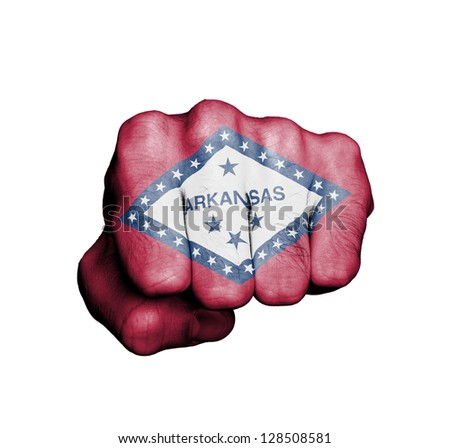 United states, fist with the flag of a state, Arkansas