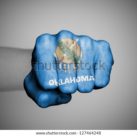 United states, fist with the flag of a state, Oklahoma