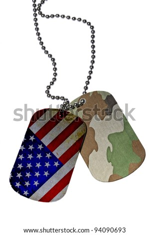 United States flag and Camouflage texture on ID tag