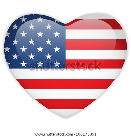 United States Flag Heart Glossy Button