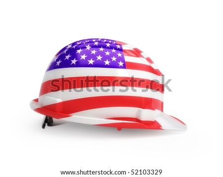 United States flag on construction helmet