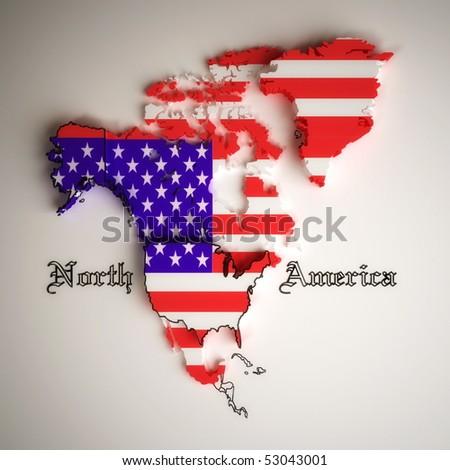 United States flag on north america