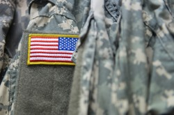 United States flag patch on the army uniform sleeve (Memorial day, Veteran's day, 4th of july, Independence day)