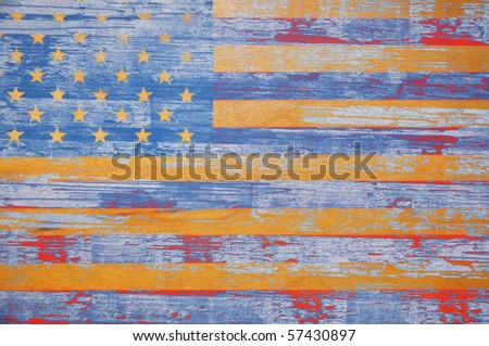 United States Flag with vintage aged / wooden look