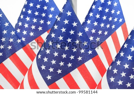 United States flags hanging in the queue on flagpole, Isolated on the white background