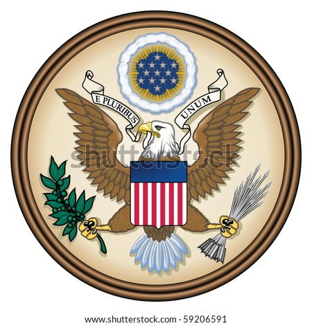 United States Great Seal, coat of arms or national emblem, isolated on white background. Pictured here in Obverse side.