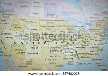 United States in close up on the map. Focus on the name of country.