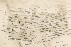 United States map (Geographical view altered on colors/perspective and focus on the edge. Names can be partial or incomplete)