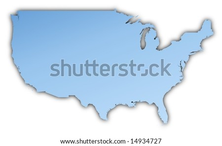 United States map light blue map with shadow. High resolution. Mercator projection.