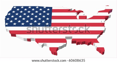 United States Map with Flag - stock photo